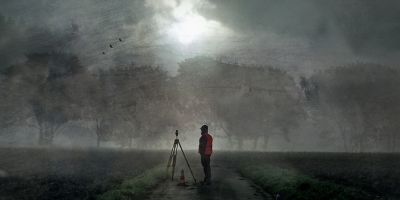 painting of surveyor standing on rural path