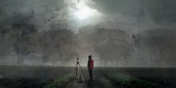 painting of surveyor standing on rural path