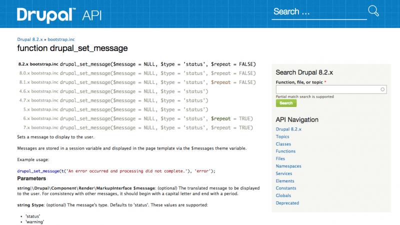 drupal set message