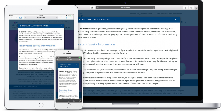 aquoral responsive design with important safety information