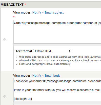 drupal commerce message subject and body
