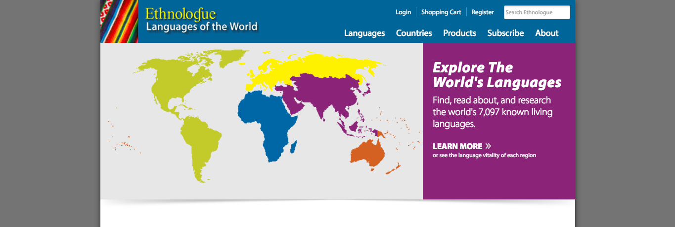 ethnologue homepage