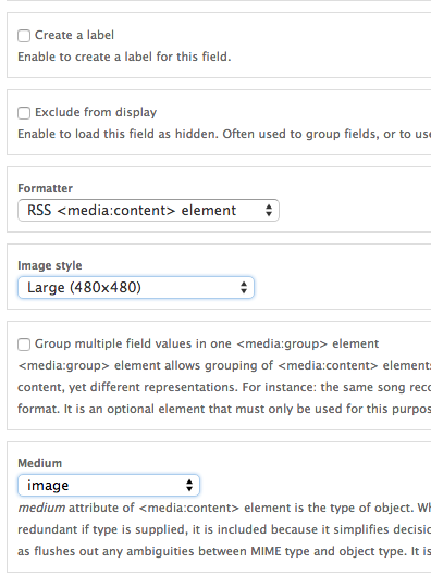 drupal views rss image format