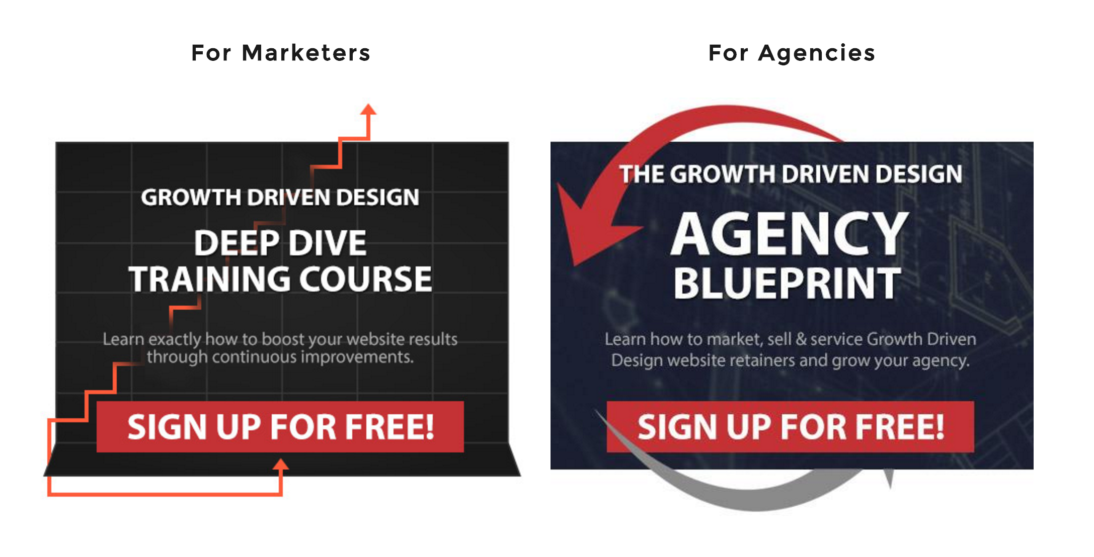 How to create kick ass ctas for every page of your website those are two great big ctas right in the middle of the home page even if you dont know anything about growth driven design the website helps you malvernweather Choice Image
