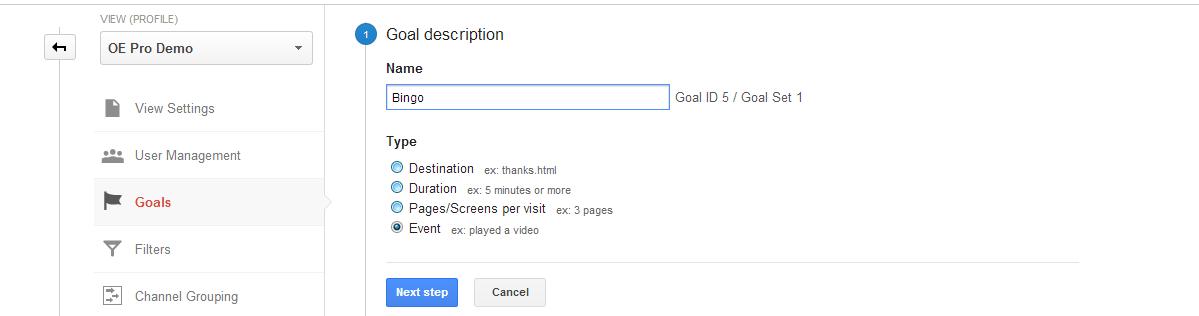 Google Analytics adding a event triggered goal