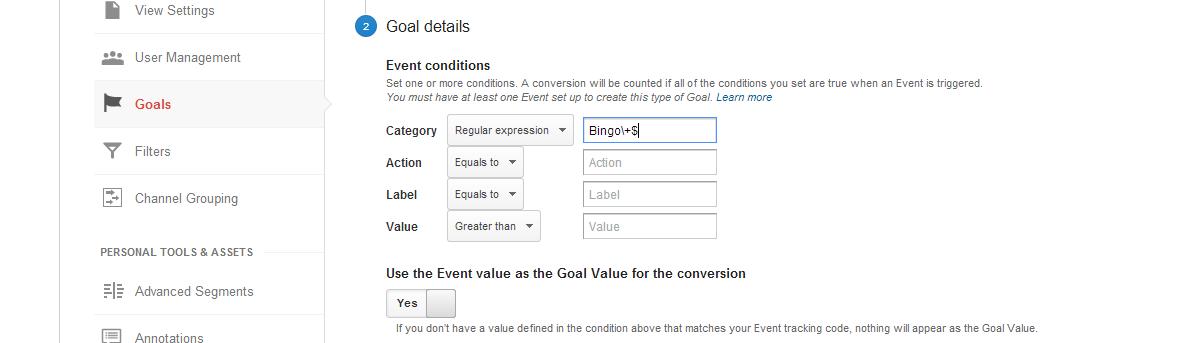Google Analytics using regular expression event goals