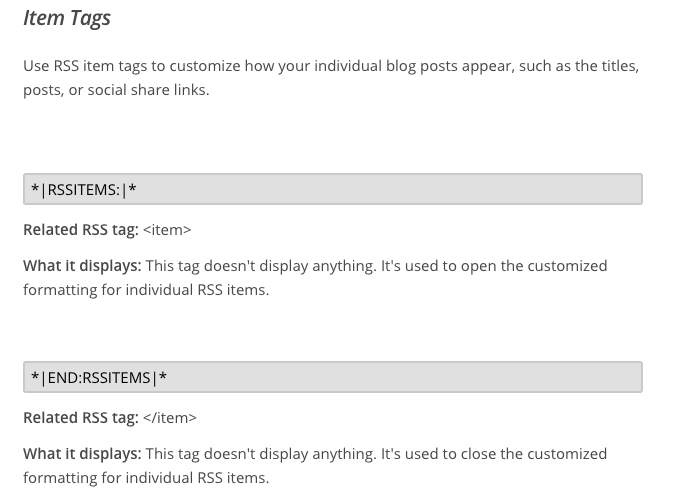 mailchimp rss email items