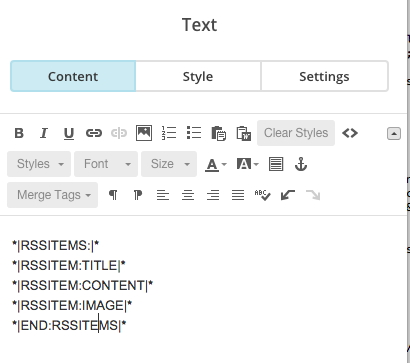 mailchimp rss email item custom text
