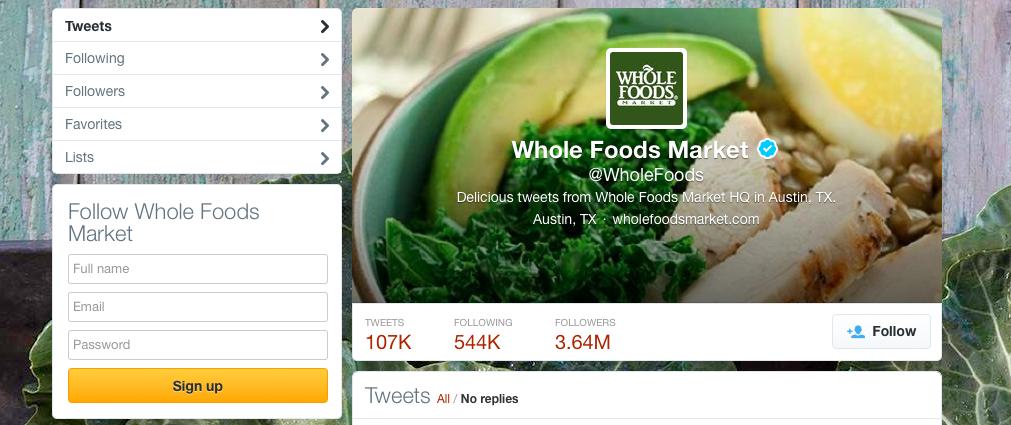 Screenshot of Whole Foods Market's Twitter Profile