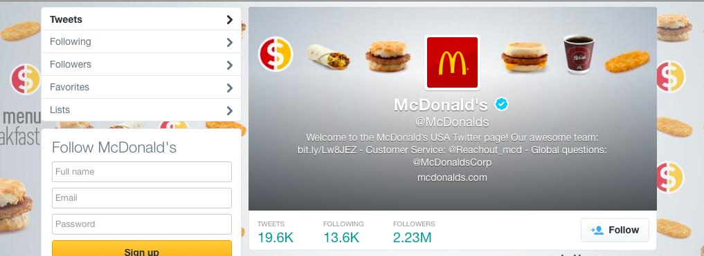 Screenshot of McDonald's Twitter Profile