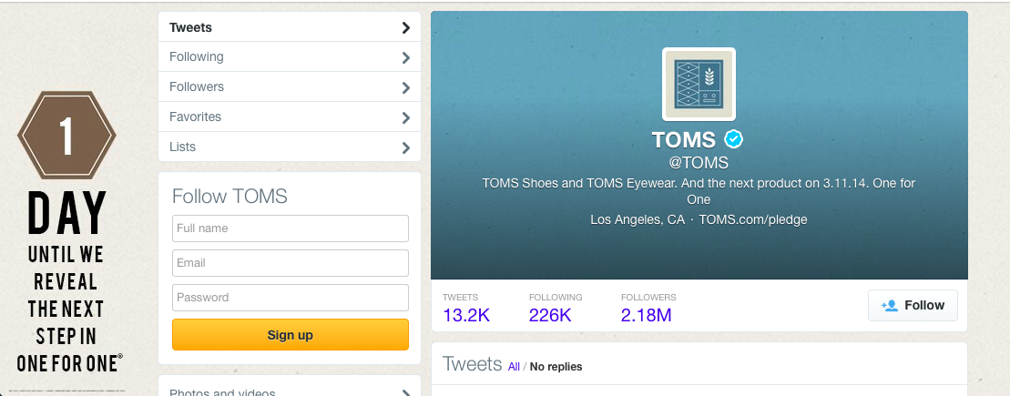 Screenshot of TOMS Shoes Twitter Profile