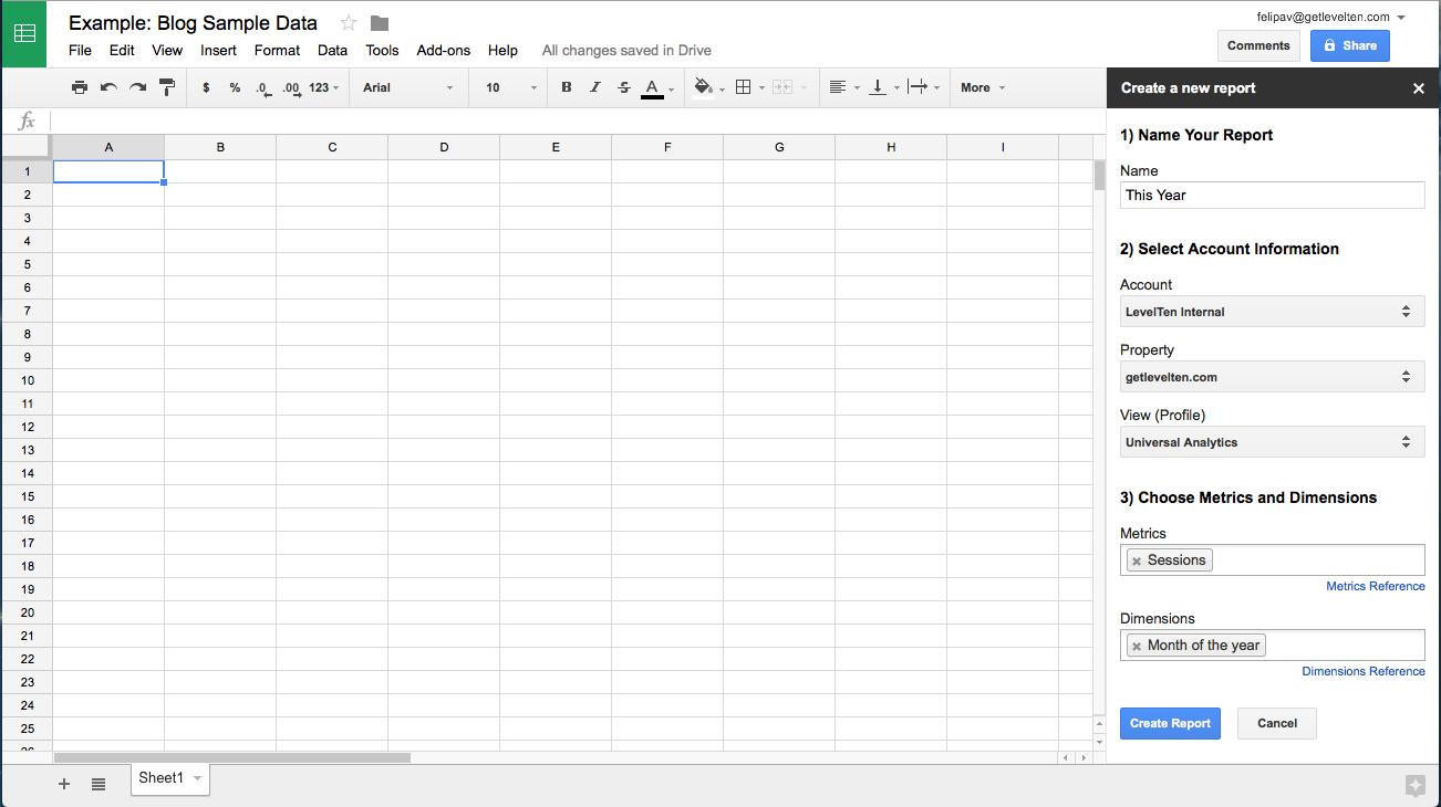 spreadshee google analytics