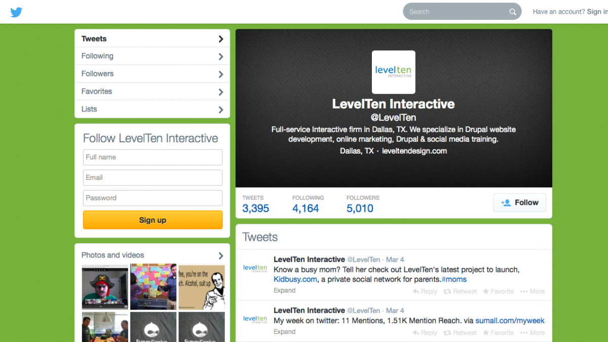 A green background featuring LevelTen Interactive's active twitter feed, as well as it's logo.
