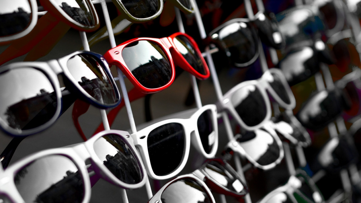 Sea of sunglasses, but one pair stands out