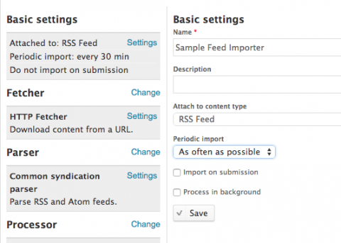 drupal feed basic settings
