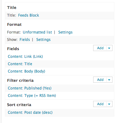 drupal feeds set up views block