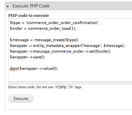 get message id - execute php code