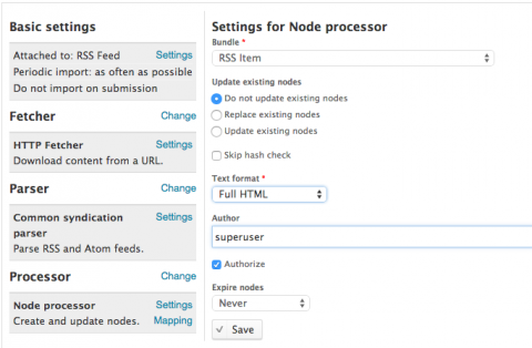 drupal feeds node processor settings