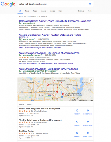 google reviews in local search