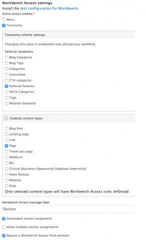 workbench access settings