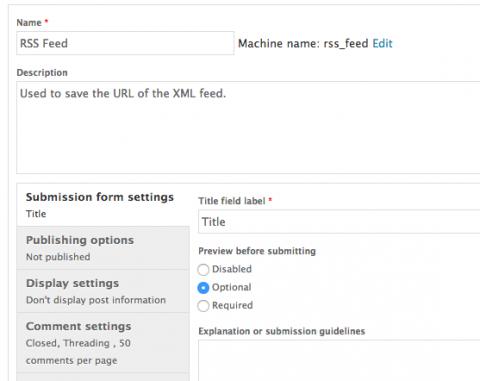 xml feed content type